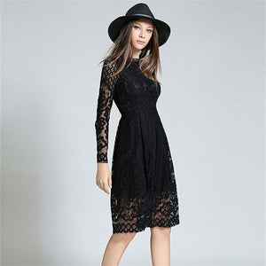 Long Sleeve Hollow Lace Dress
