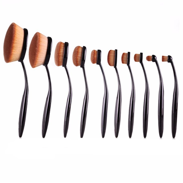 Oval Makeup Brush Set 10PCS