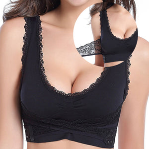 Wireless Front Cross Buckle Lace Bra