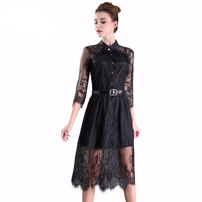 Long Sleeve Chiffon Dress with Lace Stitching Exterior