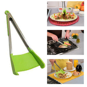 2 in 1 Non-stick Silicone Tongs