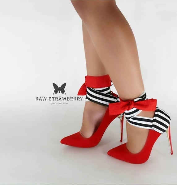 mariana heel ribbons - Raw Strawberry