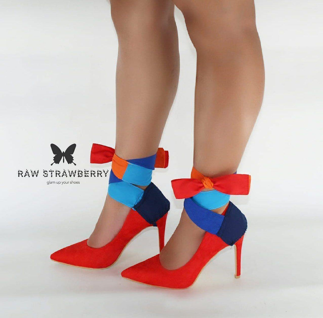 colourful heel ribbons - Raw Strawberry