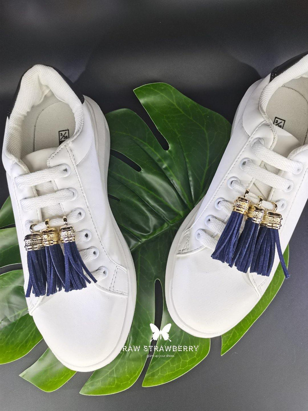navy sneaker tassels (6 pieces) - Raw Strawberry