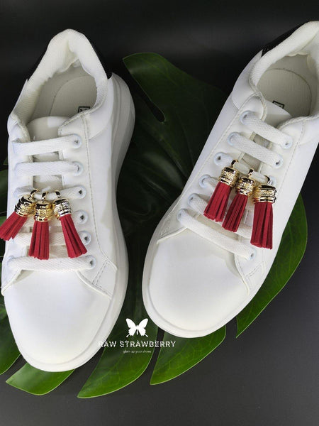 red sneaker tassels (6 pieces) - Raw Strawberry