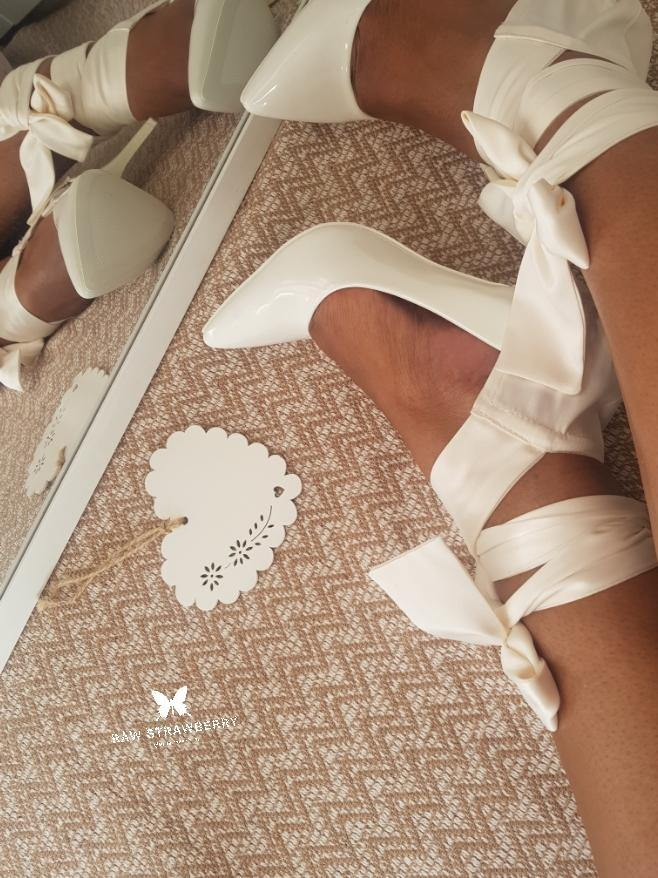 bridezilla heel ribbons - Raw Strawberry