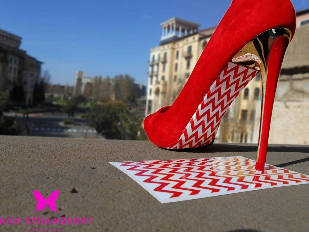 red chevron under soles