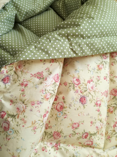 Pretty Floral & Vintage Green Mini Eiderdown - IN STOCK