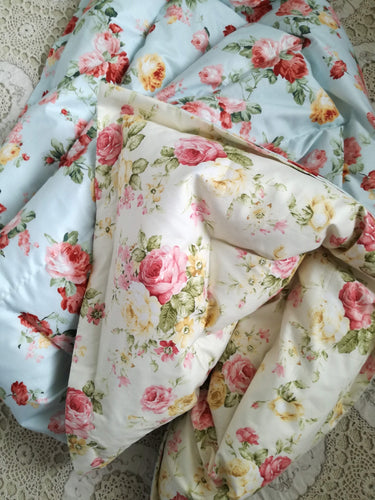 Cream & Blue Roses Mini Eiderdown - IN STOCK