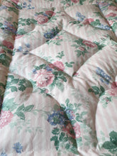 Pale Pink Striped Floral SINGLE Cotton Eiderdown - IN STOCK