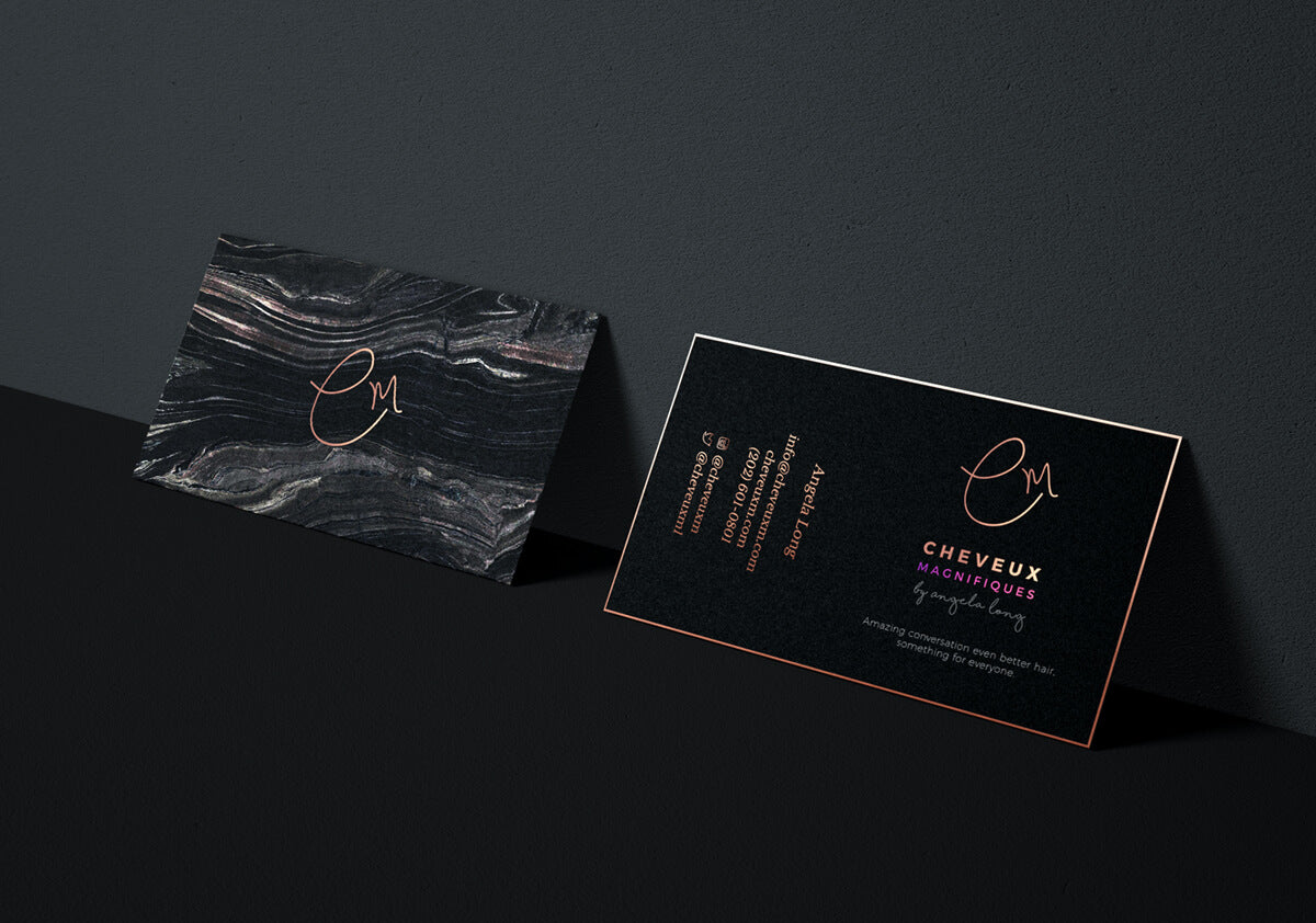 logo & stationary I designed for Cheveax Magnifiques, a luxury hair care & extensions shop.