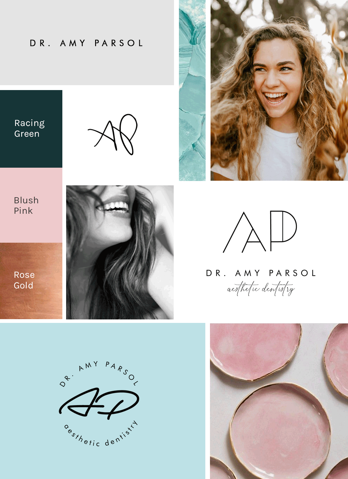Logo designs and mood board we designed for aesthetic dentist USA by Uma Gokhale 83 Oranges