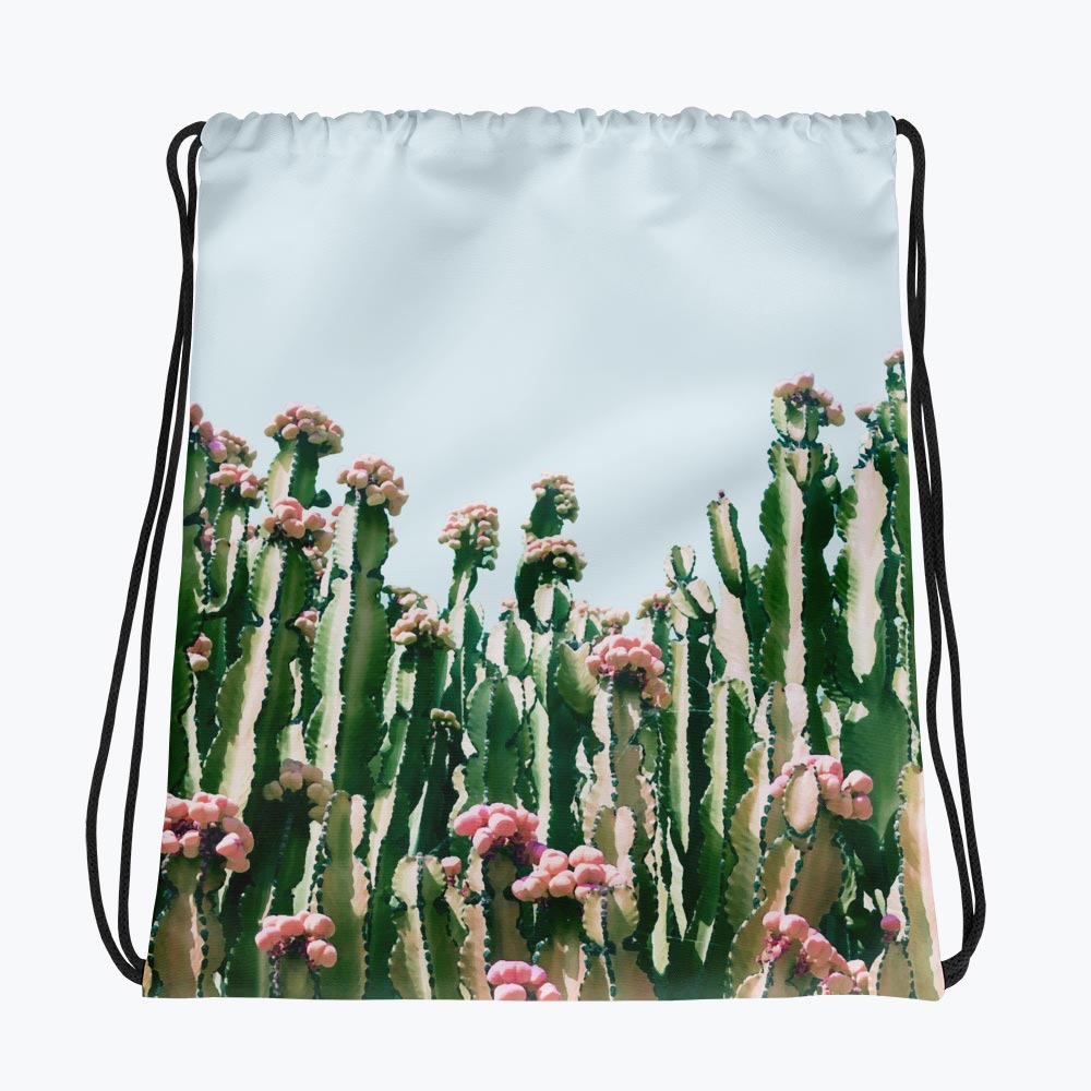 Blush Cactus Drawstring Bag