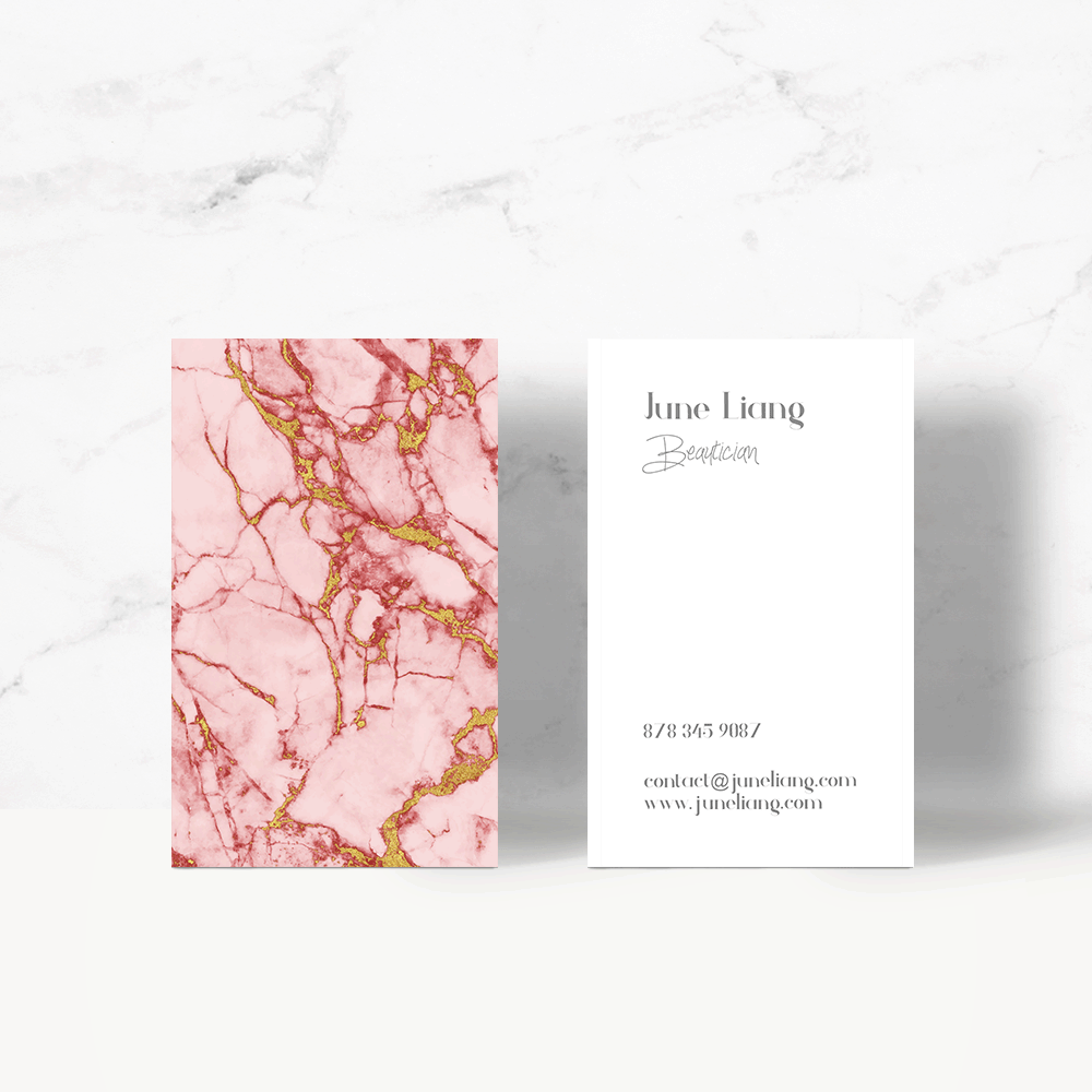 Blush Gold Marble Business Card Templete