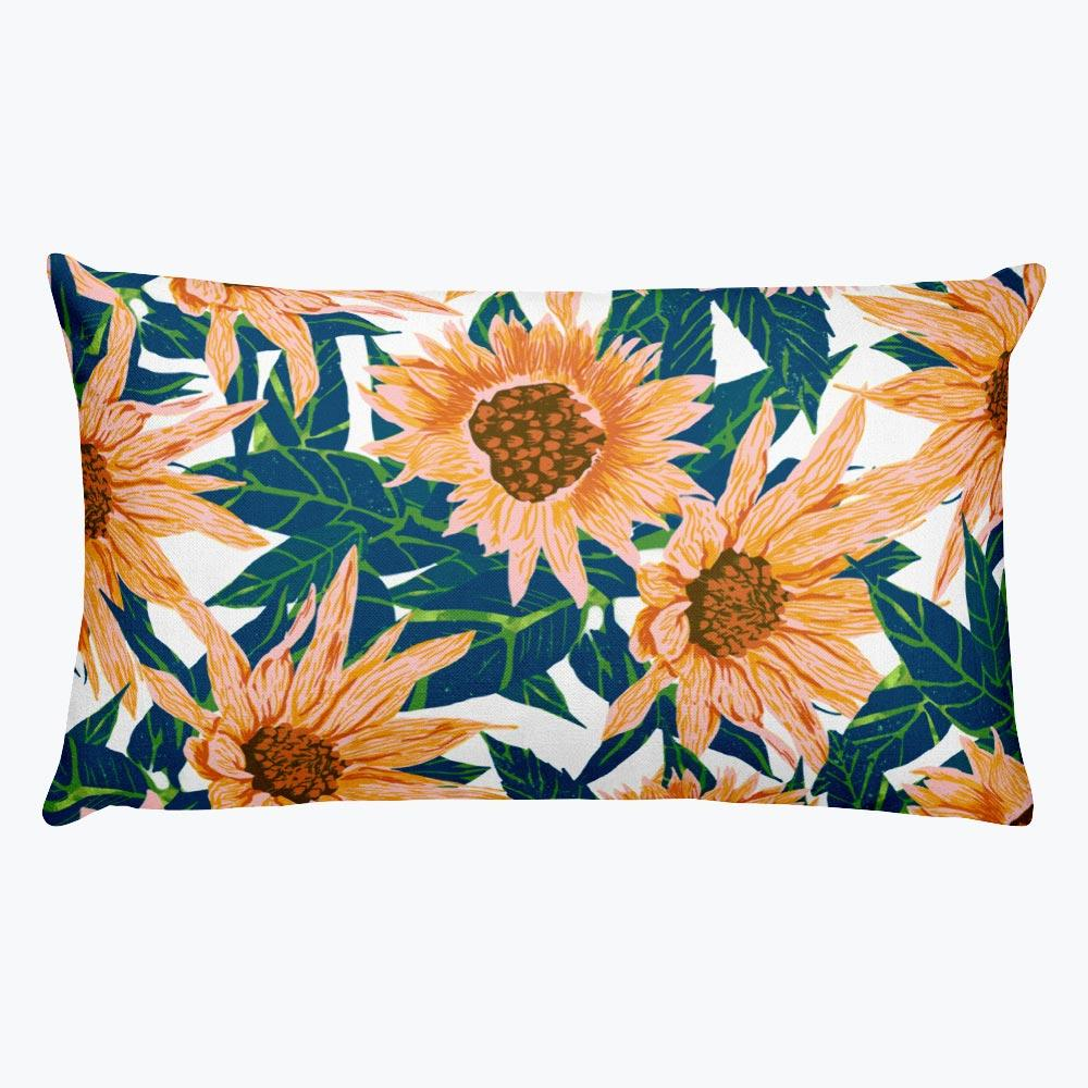 Blush Sunflowers Rectangular Pillow