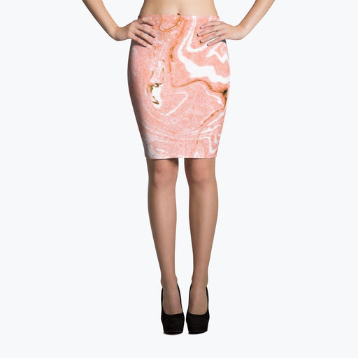 Coral Blush Marble Pencil Skirt