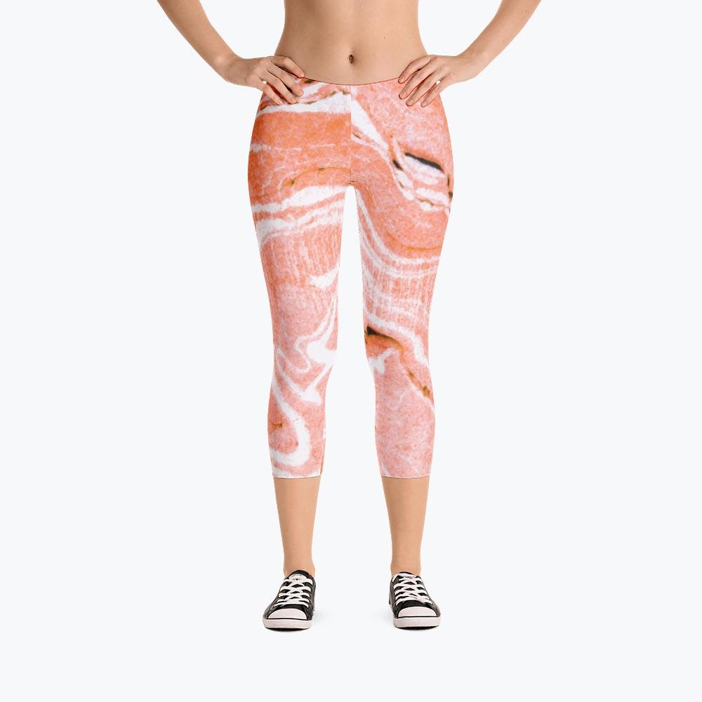 Coral Blush Marble Capri Leggings