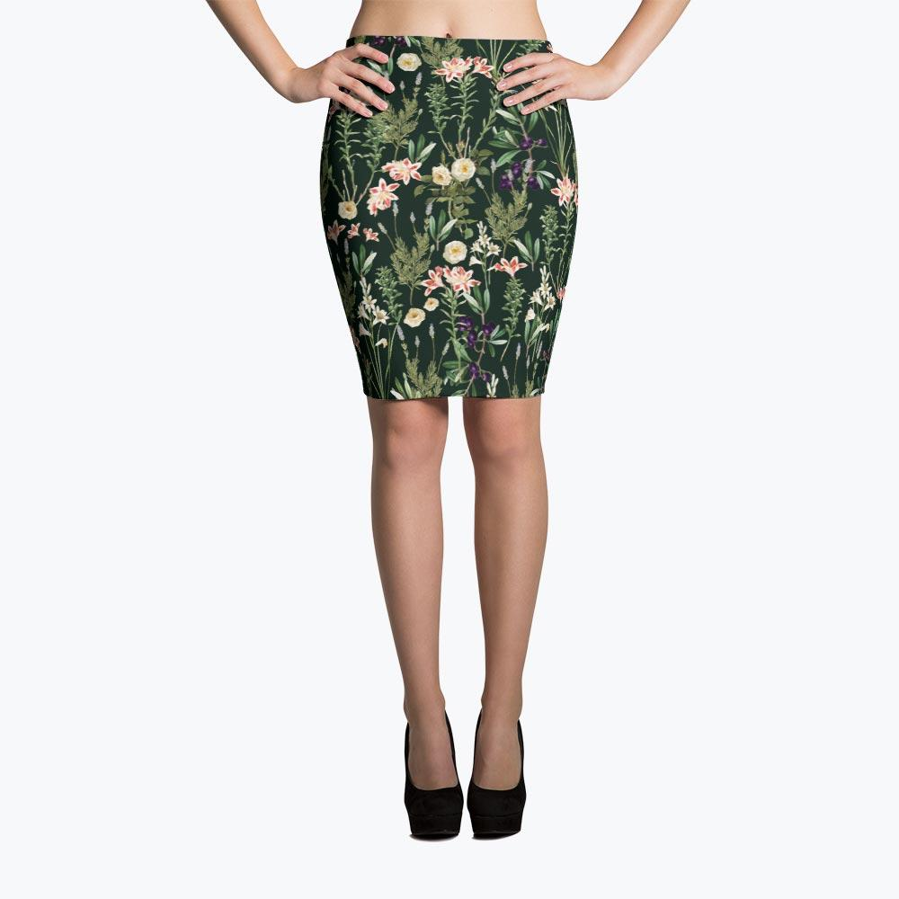 Dark Botanical Garden Pencil Skirt