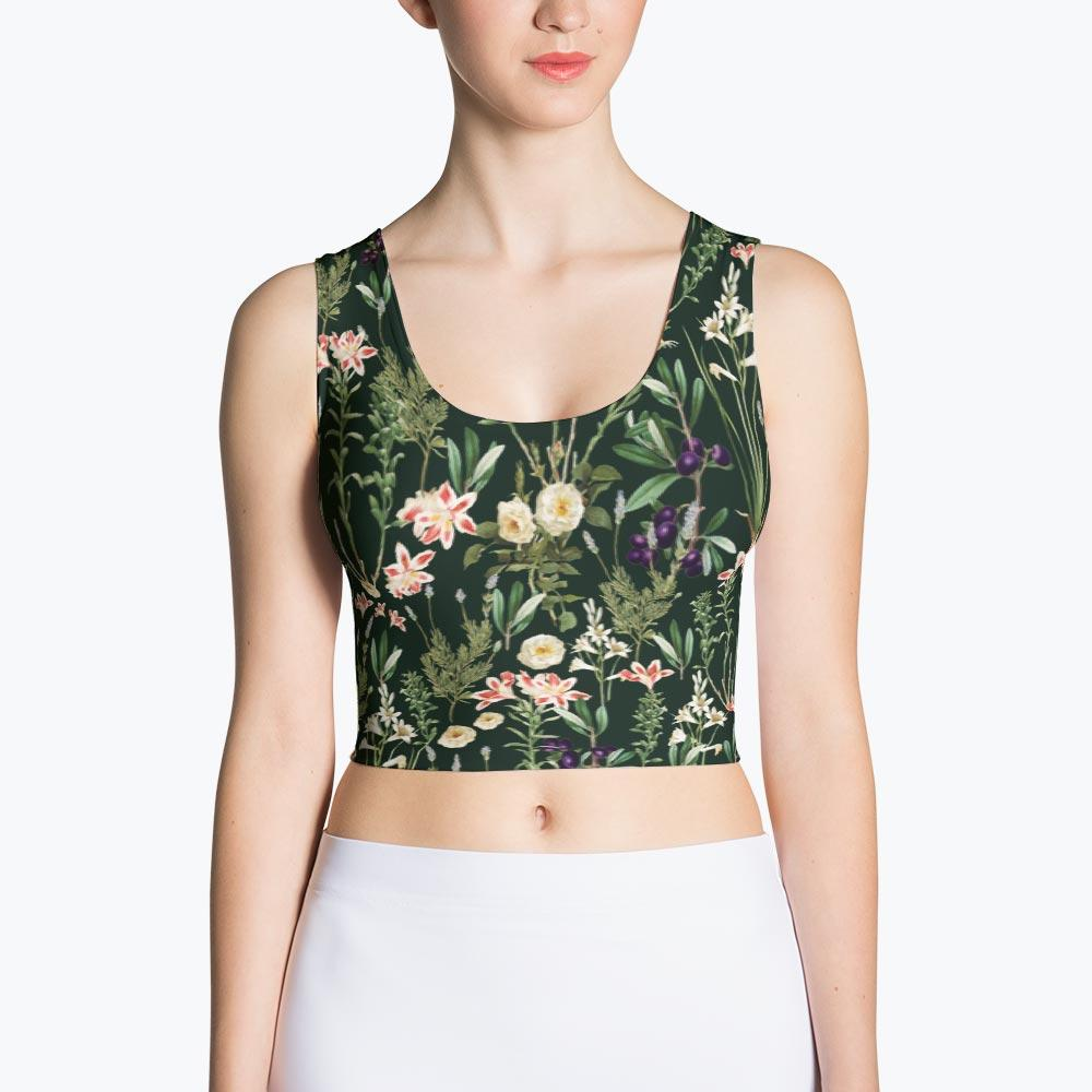 Dark Botanical Garden Sublimation Crop Top