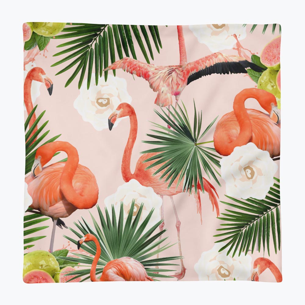 Flamingo Guava Square Pillow Case only