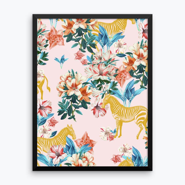 Floral and Zebras Framed Poster