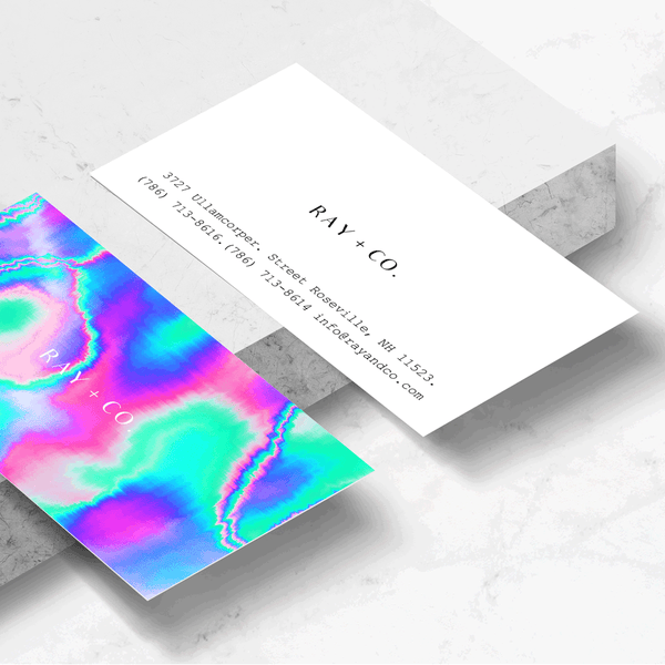 Holographic Glitch Business Card Template