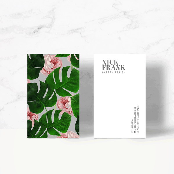 Monstera Rose Pattern Business Card Template