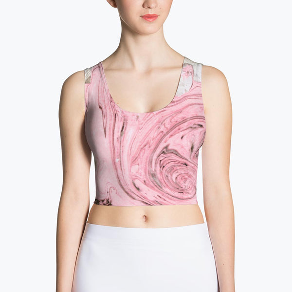 Nude + Pink Marble Sublimation Crop Top