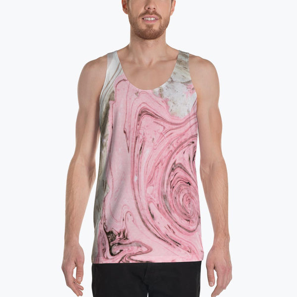 Nude + Pink Marble Unisex Tank Top
