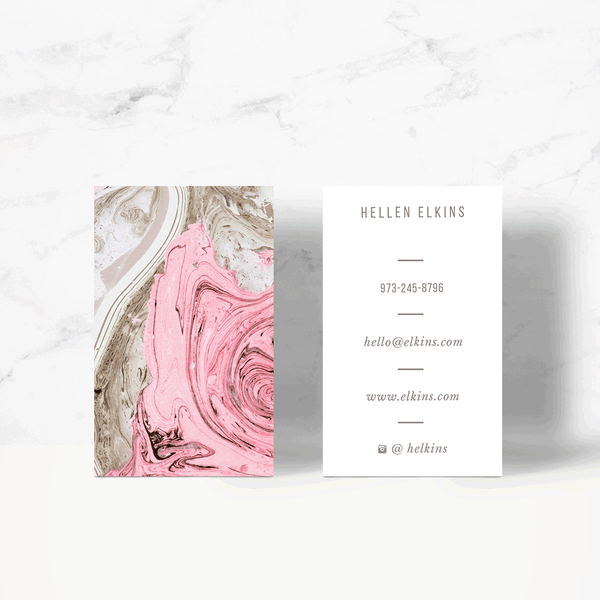 Nude + Pink Marble Business Card Template