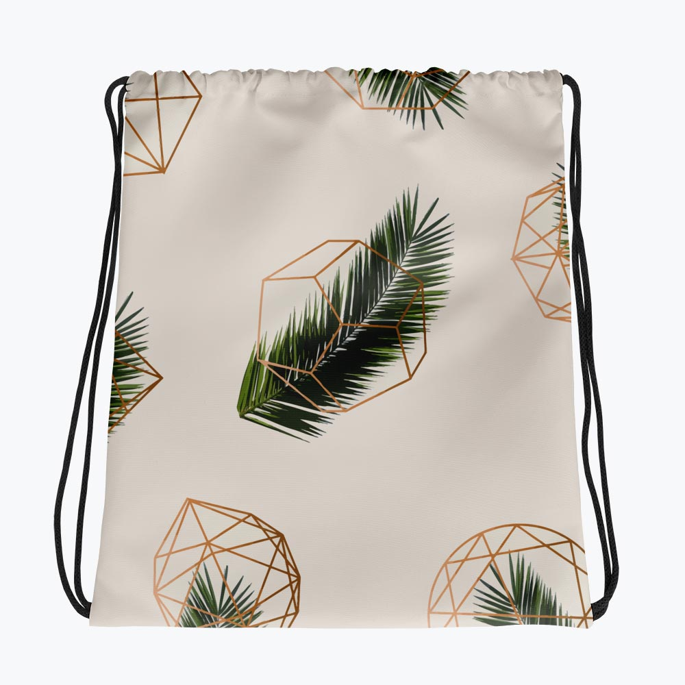 Palm and Geometry Drawstring bag