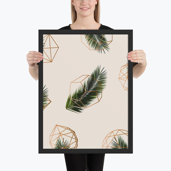 Palm and Geometry Framed Poster