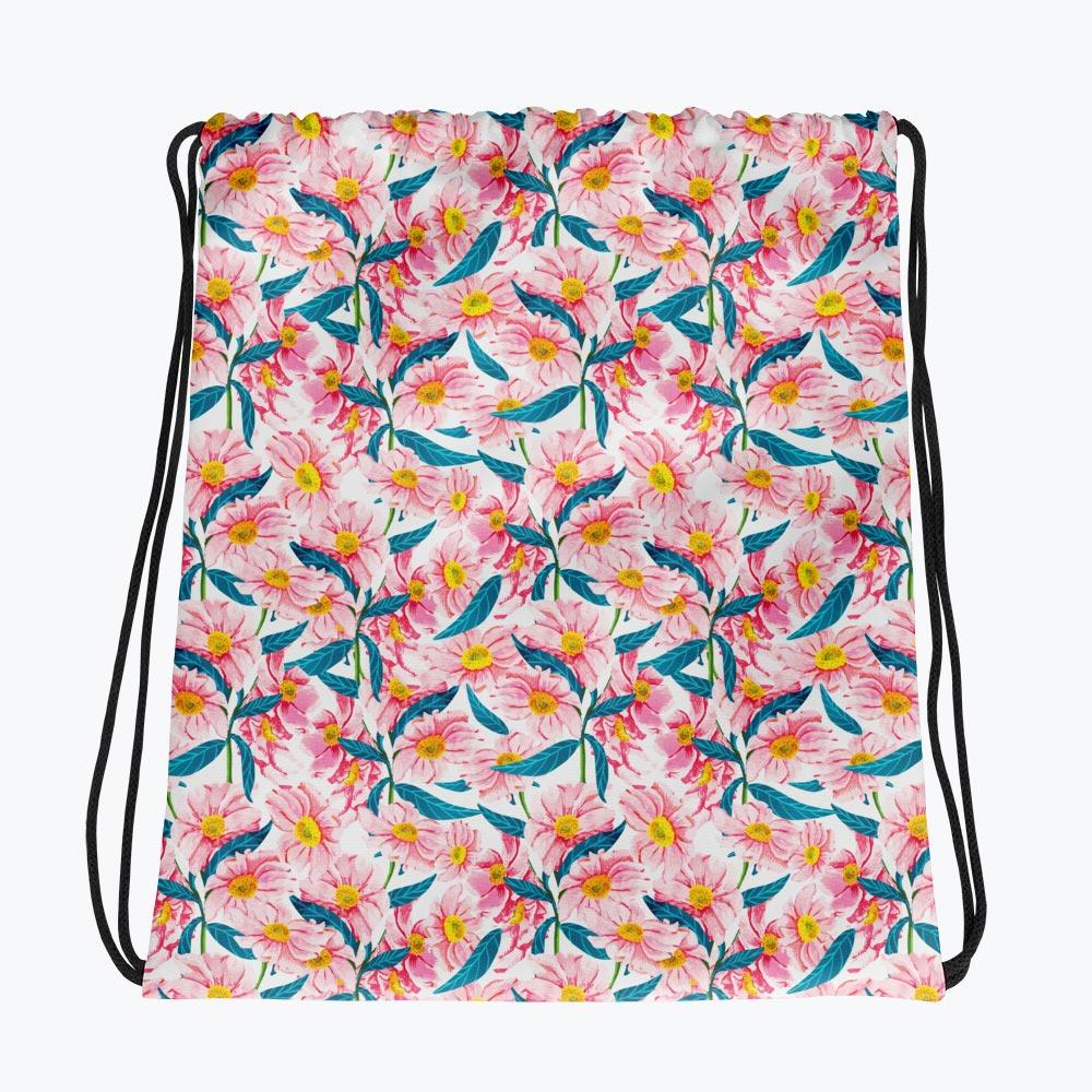Pink Florals Drawstring bag