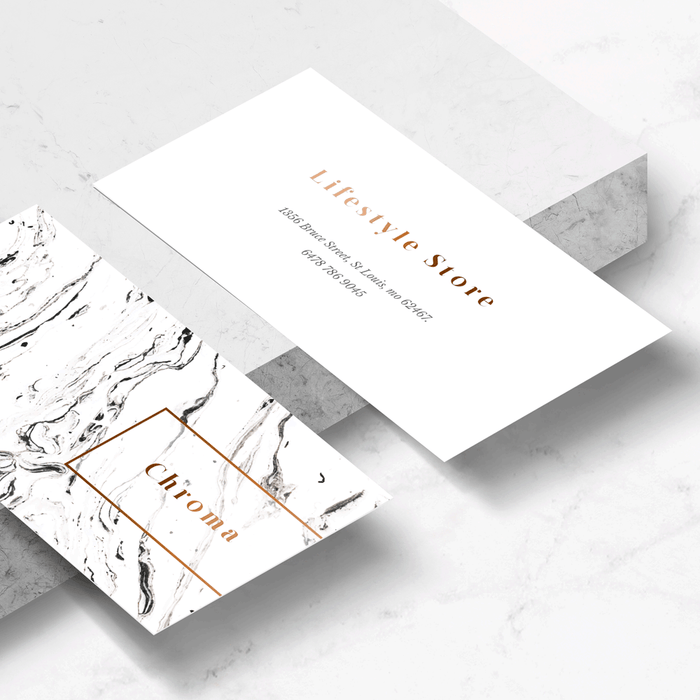 White Marble + Copper Business Card Template