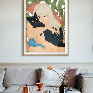 Cat Lady Illustration painting eclectic Poster