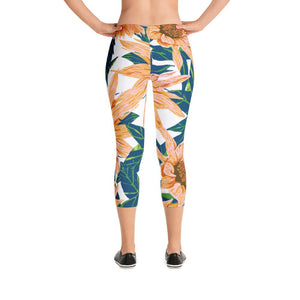 Blush Sunflowers Capri Leggings