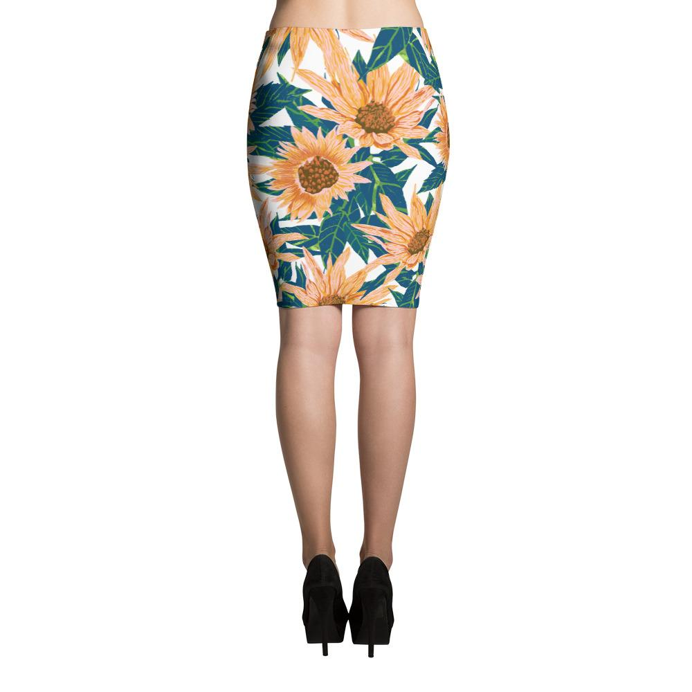 Blush Sunflowers Pencil Skirt