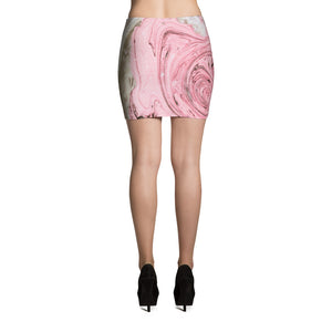 Nude + Pink Marble Mini Skirt