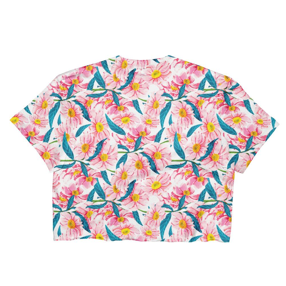 Pink Florals Ladies Crop Top