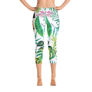 Tropical Flora Capri Leggings
