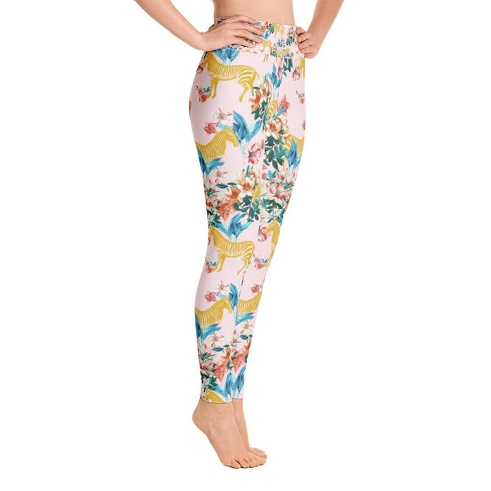 Floral and Zebras Yoga Leggings