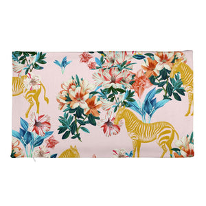 Floral and Zebras Rectangular Pillow Case only