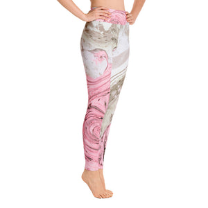 Nude + Pink Marble Yoga Leggings