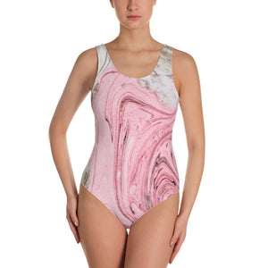 Nude + Pink Marble One-Piece Swimsuit