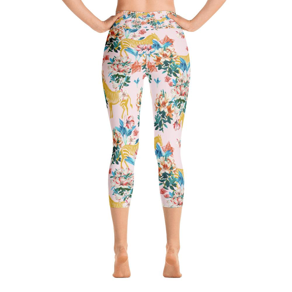 Floral and Zebras Yoga Capri Leggings