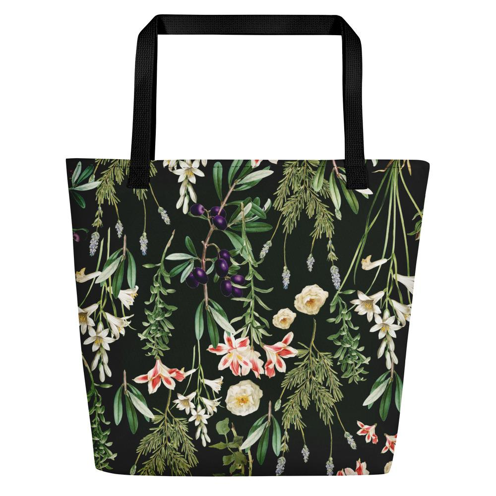 Dark Botanical Garden Beach Bag