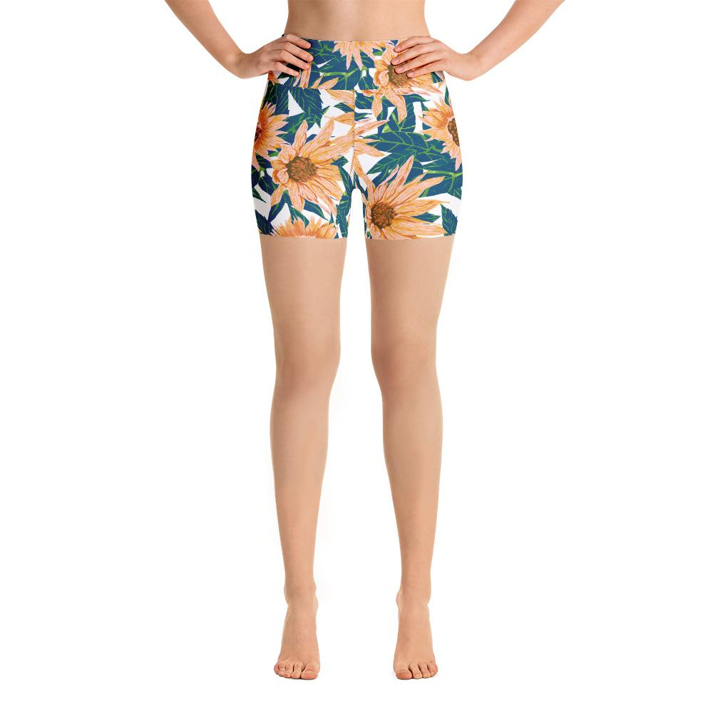 Blush Sunflowers Yoga Shorts