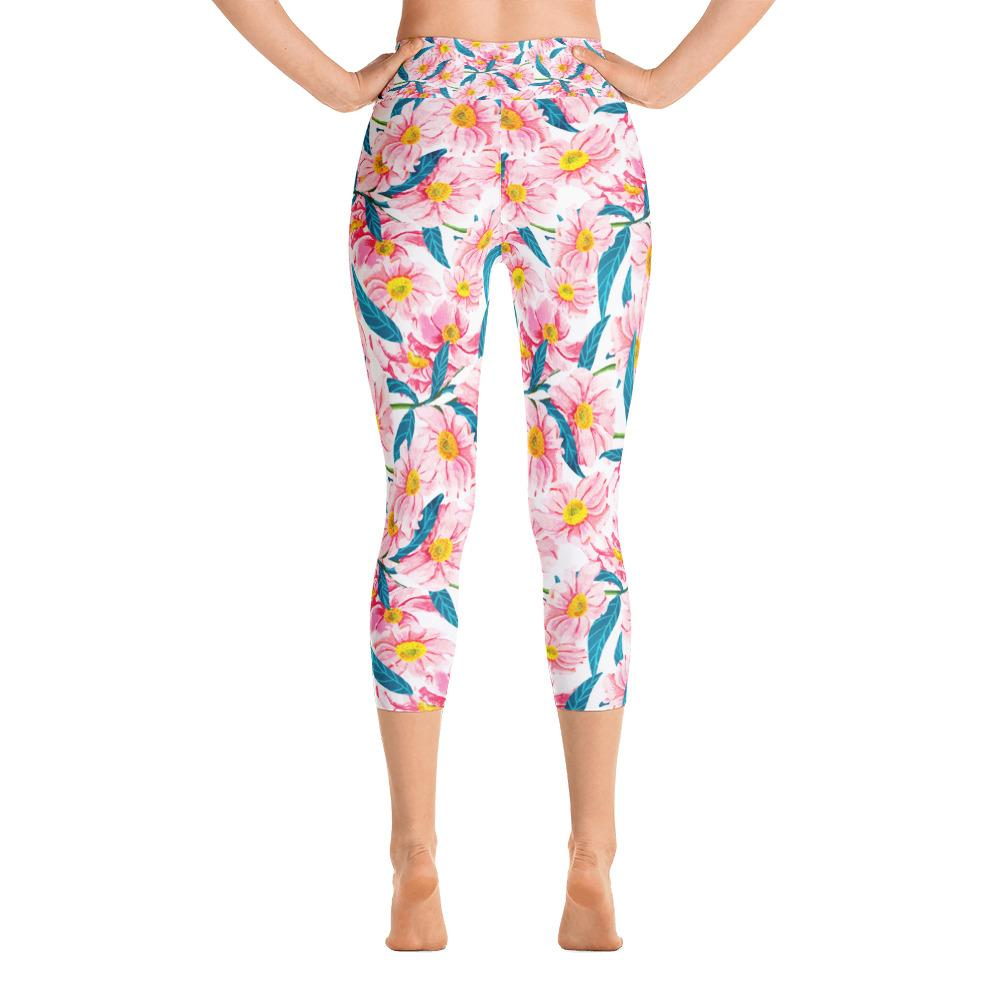 Pink Florals Yoga Capri Leggings