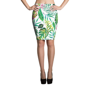 Tropical Flora Pencil Skirt