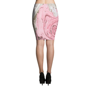 Nude + Pink Marble Pencil Skirt